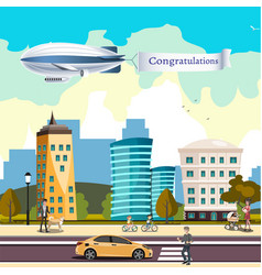 Airship in the cloudy sky flying over the city vector