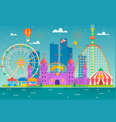 amusement park with attraction and rollercoaster vector image
