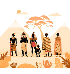 Ancient african people composition vector