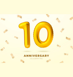 anniversary gold ballon with number ten 10 vector image