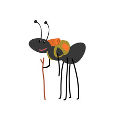 ant travelling with backpack cute cartoon animal vector image