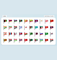asia national flags vector image