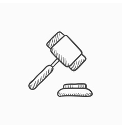 Auction gavel sketch icon vector image