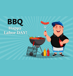 bbq young cheerful man cooks grilled food vector image