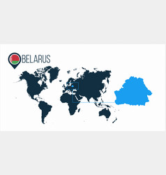 Belarus location on the world map for vector