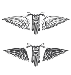 Biker theme labels set with bike and wings vector