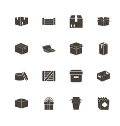 box and crates - flat icons vector image