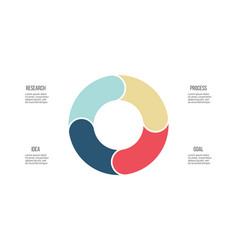 business infographics pie chart with 4 sections vector image