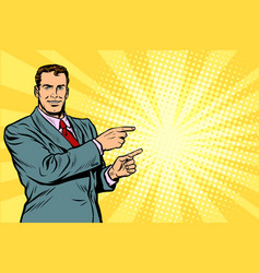 businessman pointing finger at the side vector image