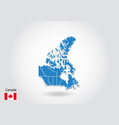 canada map design with 3d style blue canada map vector image