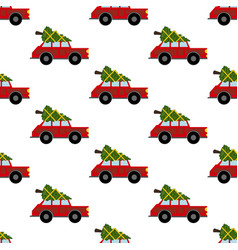 car with christmas tree pattern vector image
