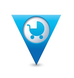 Carriage icon on map pointer blue vector