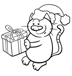 Cat on christmas coloring page vector