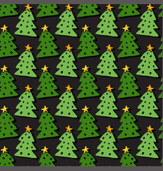 Christmas trees seamless pattern bright vector