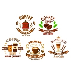 Coffee shop design elements in cartoon style vector