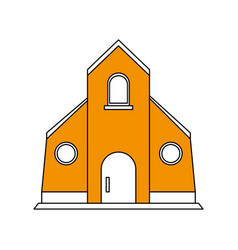 color silhouette image yellow church building vector image