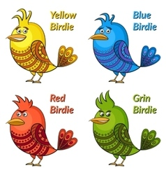 Colorful Funny Birds Set vector