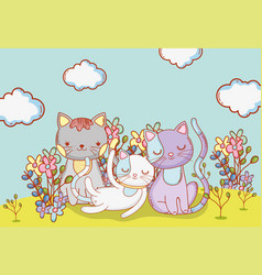 Cute cats animals with clouds and flowers vector