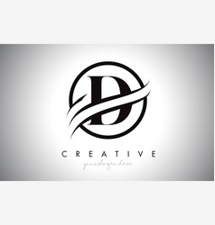 D letter logo design with circle swoosh border vector