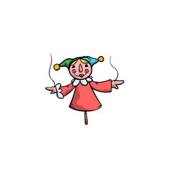 Doll buffoon in red clothing and cap raster vector