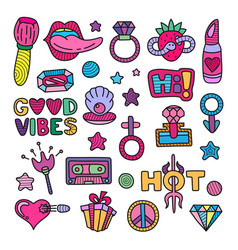 Doodle girly clipart lineart elements set vector