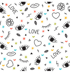 doodle seamless pattern with eyes hearts lips vector image