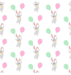 easter bunny with balloons seamless pattern vector image