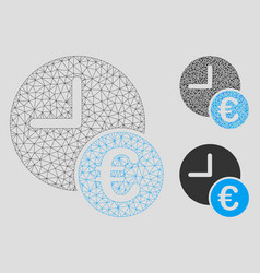 euro recurring payments mesh wire frame vector image