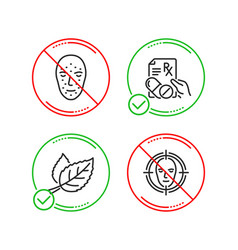 Face biometrics leaf and prescription drugs icons vector