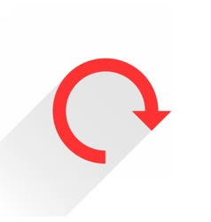 Flat red arrow icon reset sign on white vector