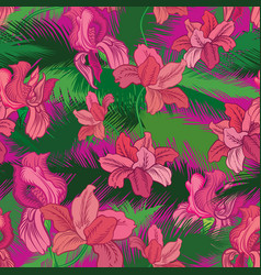 Floral seamless pattern tropical fowers jungle vector