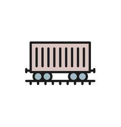 freight car on rails cargo wagon train flat vector image