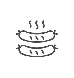 fried sausages line outline icon vector image