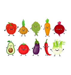 funny cartoon set of different vegetableskawaii vector image