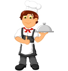 Funny chef cartoon holding plate vector