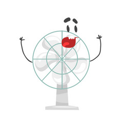 Funny electric fan character with smiling face vector