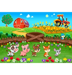 Funny landscape with farm animals vector