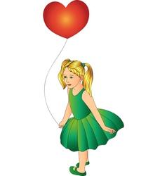 Girl with one balloon vector