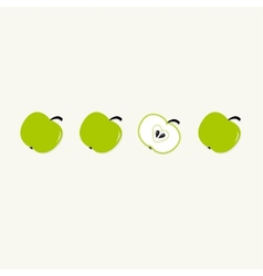 Green apple set in a row Whole and half with vector image