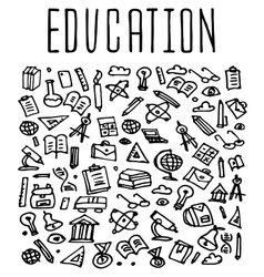 Hand drawn School education seamless logo vector image