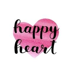 Happy heart Brush lettering vector image