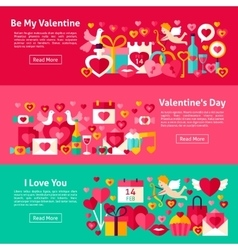 Happy Valentine Day Web Banners vector image