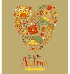 Hello Autmn banner in doodle style vector image