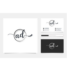 Initial ad feminine logo collections and business vector