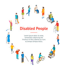 Isometric disabled people characters banner card vector