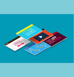isometric user interface design vector image