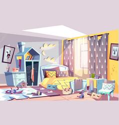 Kids bedroom in mess cartoon vector