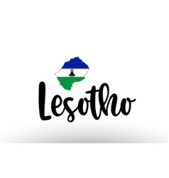Lesotho country big text with flag inside map vector