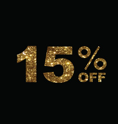 luxury golden glitter fifteen percent off special vector image