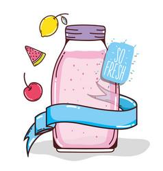 Mason jar fruit juice vector
